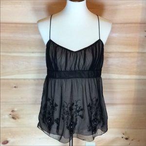 Loft nude tank w/ embellished black mesh overlay 8